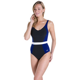 speedo CrystalGleam 1 Piece Swimsuit Dame black/deep indigo/white